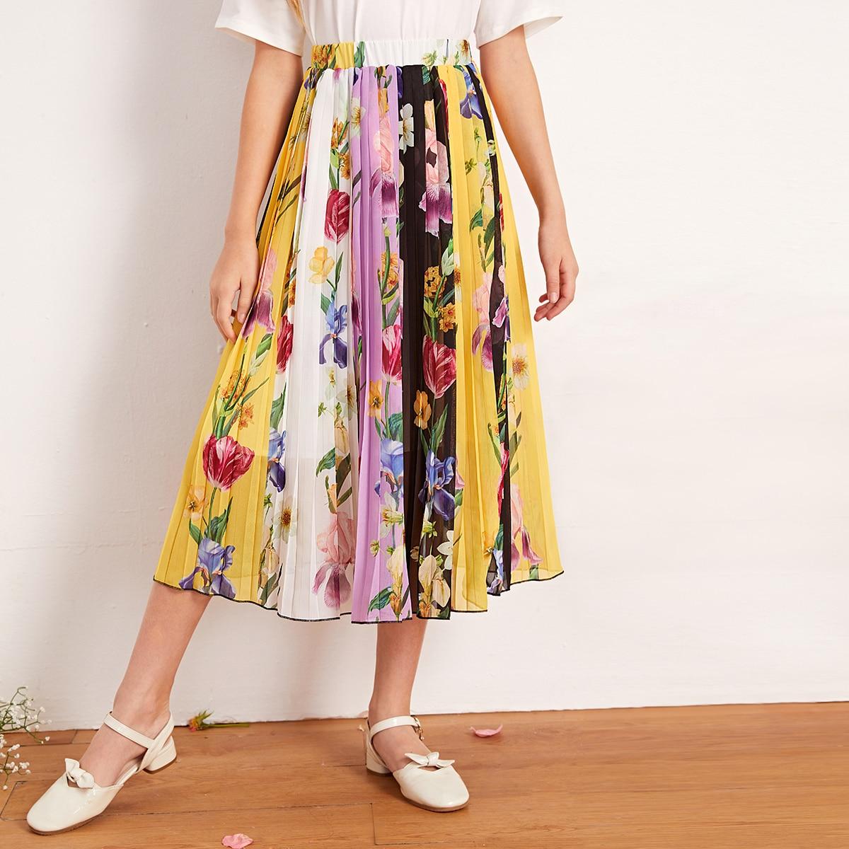 Шифоновая цветочная плиссированная юбка с эластичной талией для девочек от SHEIN