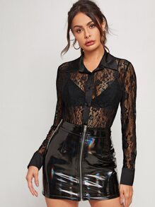 Button   Blouse   Sheer   Front   Lace
