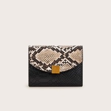 Metal Detail Snakeskin Fold Over Purse (swbag03191218844) photo