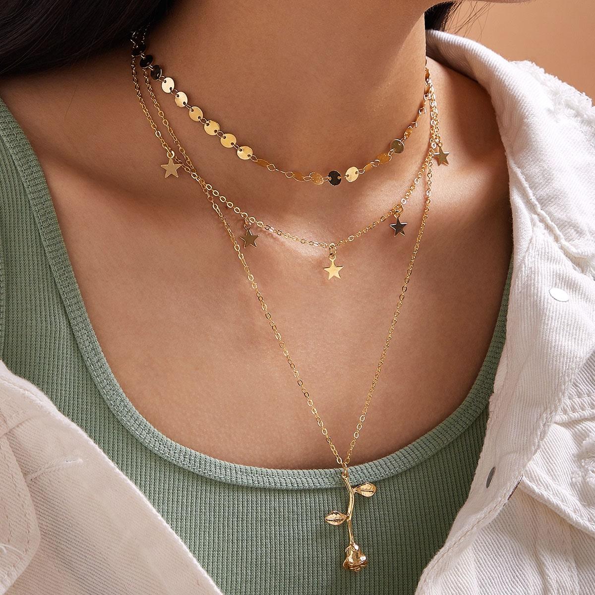 SHEIN / Halskette mit Rose & Stern Anhänger 2 Stücke