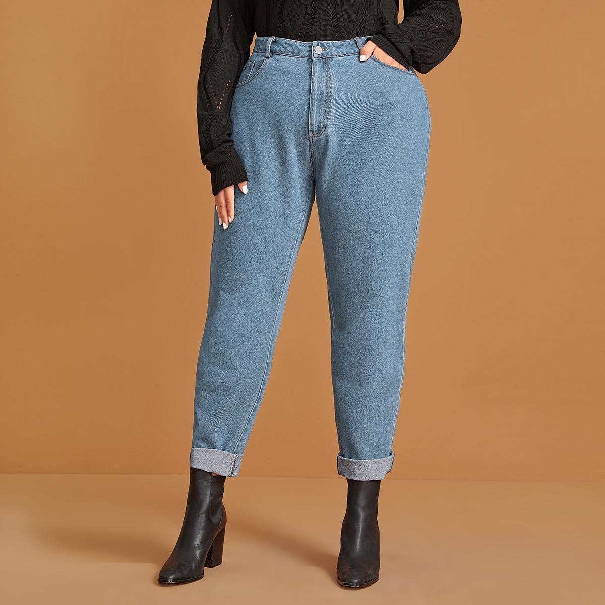 Blauw Casual Vlak Grote maten: jeans Zak