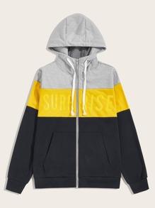 Drawstring   Sweatshirt   Block   Color   Hood   Men   Up