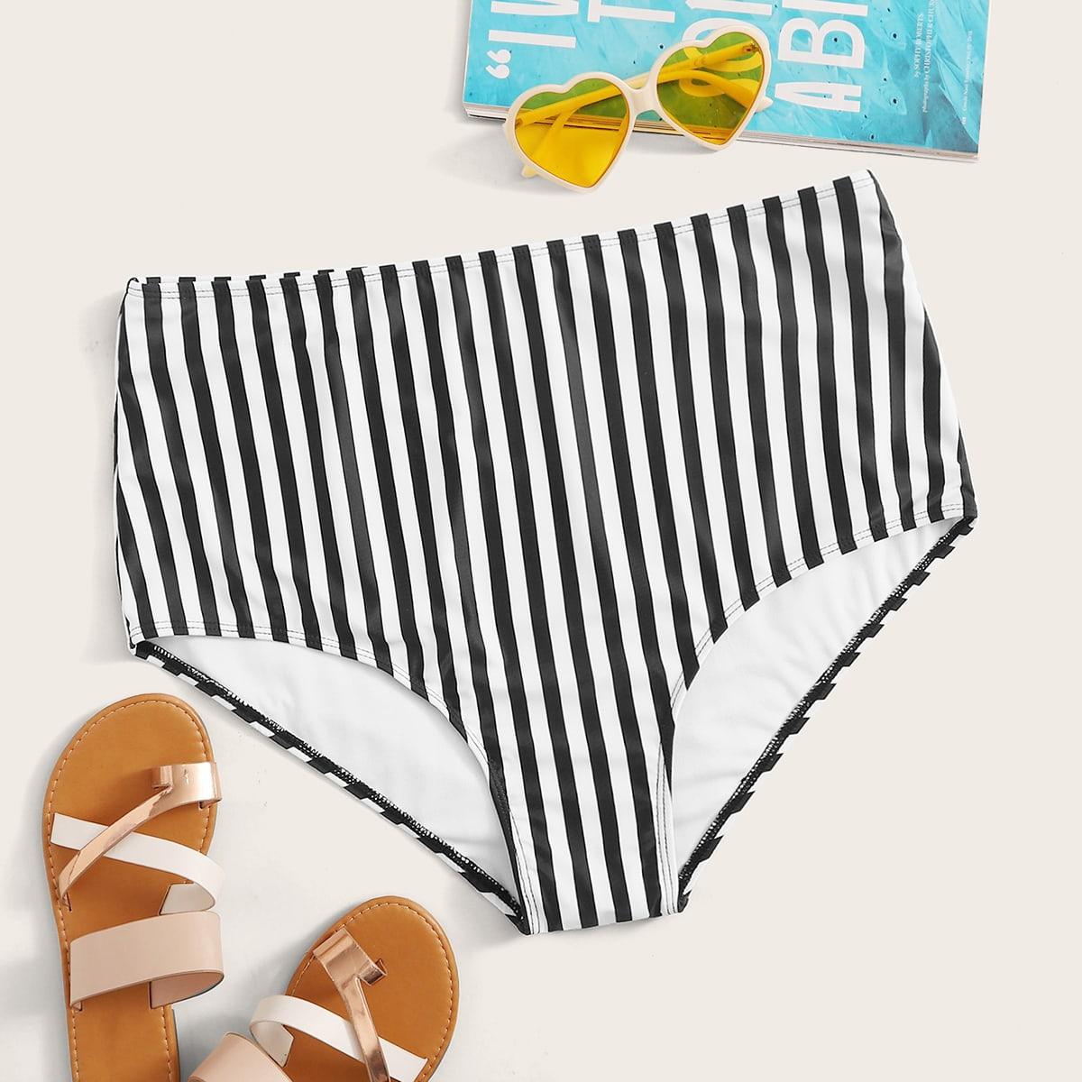Plus gestreepte bikinipanty met hoge taille