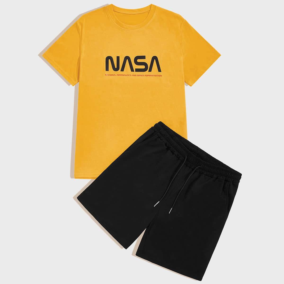 Мужские шорты и футболка с текстовым принтом от SHEIN