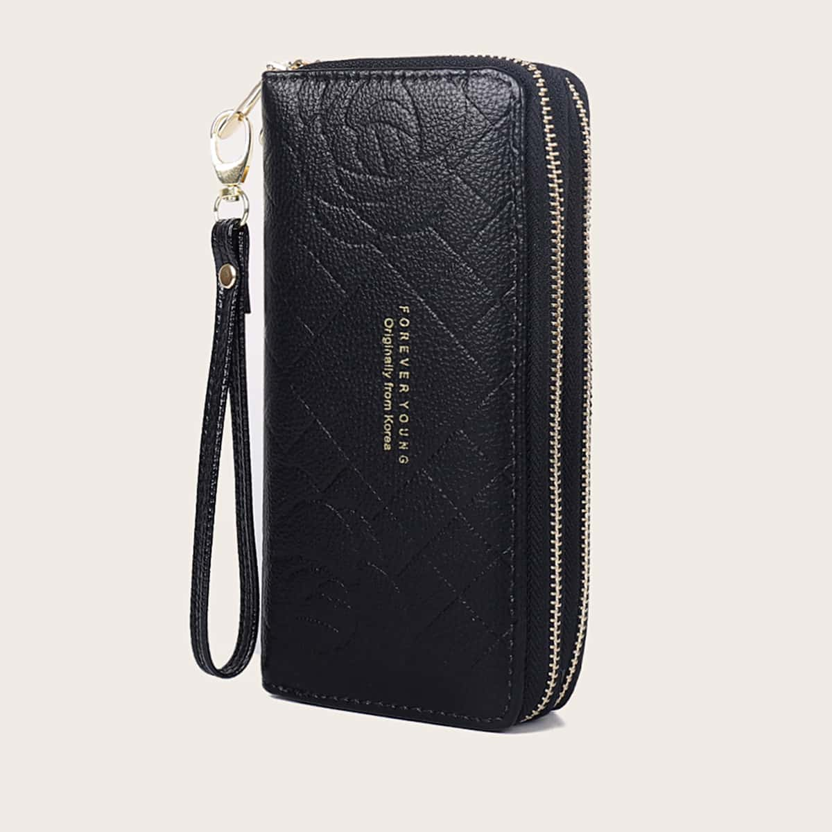 Letter Graphic Double Zip Around Purse (swbag18191220571) photo