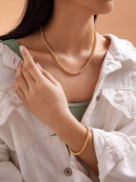 2pcs Simple Chain Necklace & Bracelet