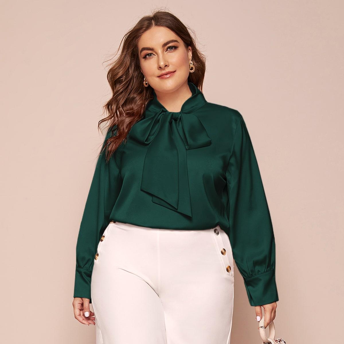 Однотонная блуза размера плюс с воротником-бантом