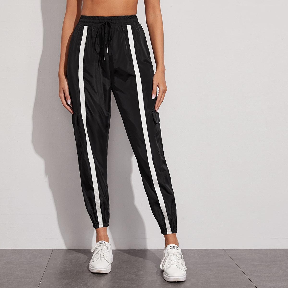 SHEIN / Pantalones cargo panel en contraste de cintura con cordón