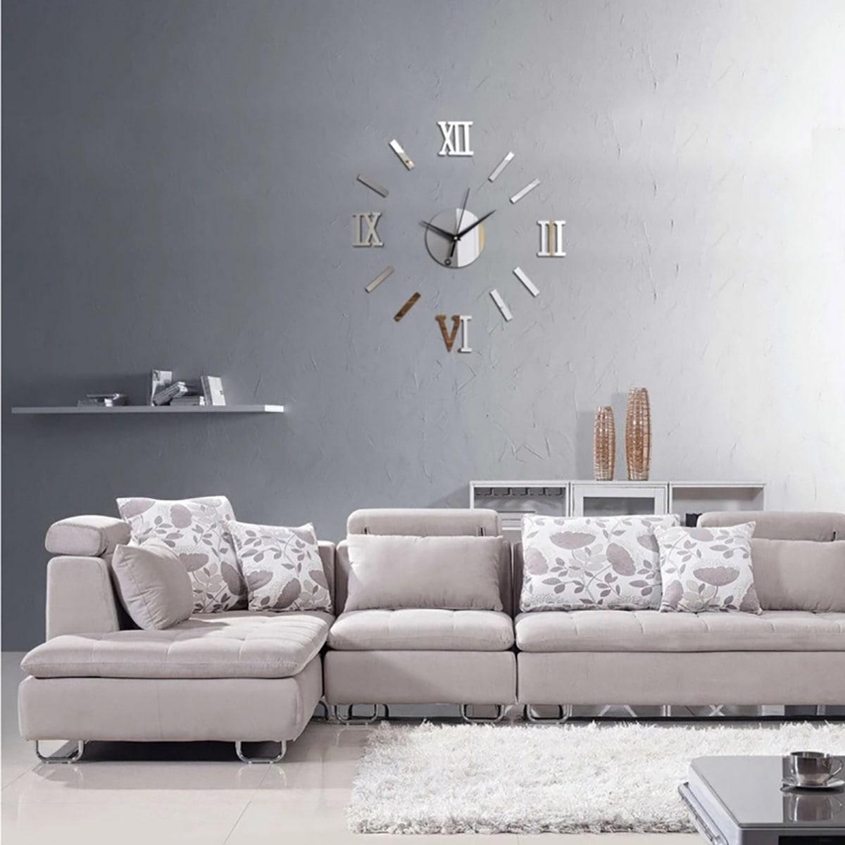 Clock Design Mirror Muursticker 13st