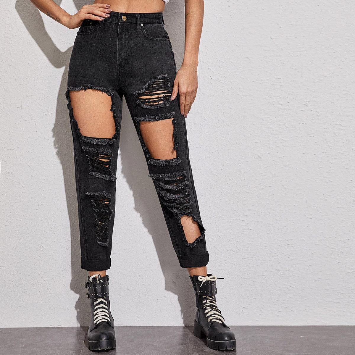 Рваные однотонные джинсы
