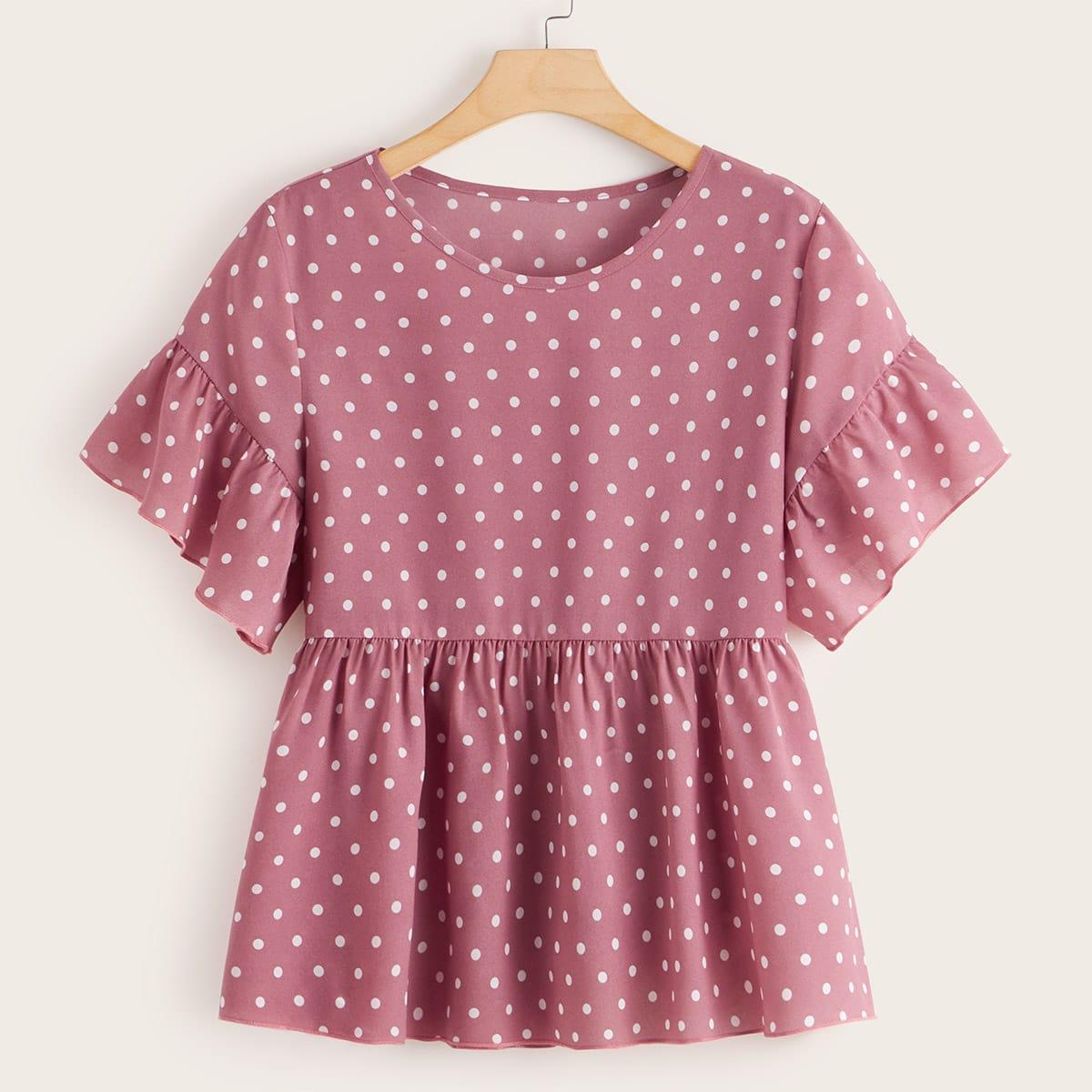 SHEIN / Große Größen - Babydoll Bluse mit Punkten Muster und Schößchenärmeln