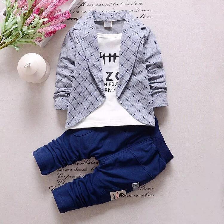 Брюки и пиджак 2 в 1 в клетку с воротником-лацканом для мальчиков от SHEIN