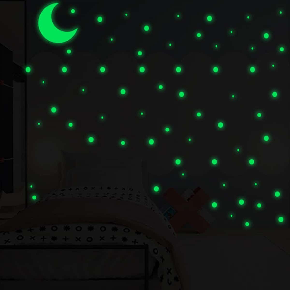 SHEIN / Moon & Dot Pattern Luminous Wall Sticker