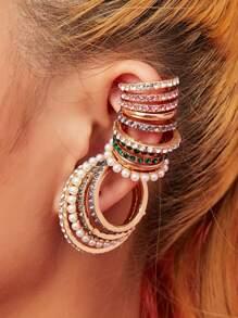 Rhinestone | Engrave | Earring | Pearl | Hoop | Faux