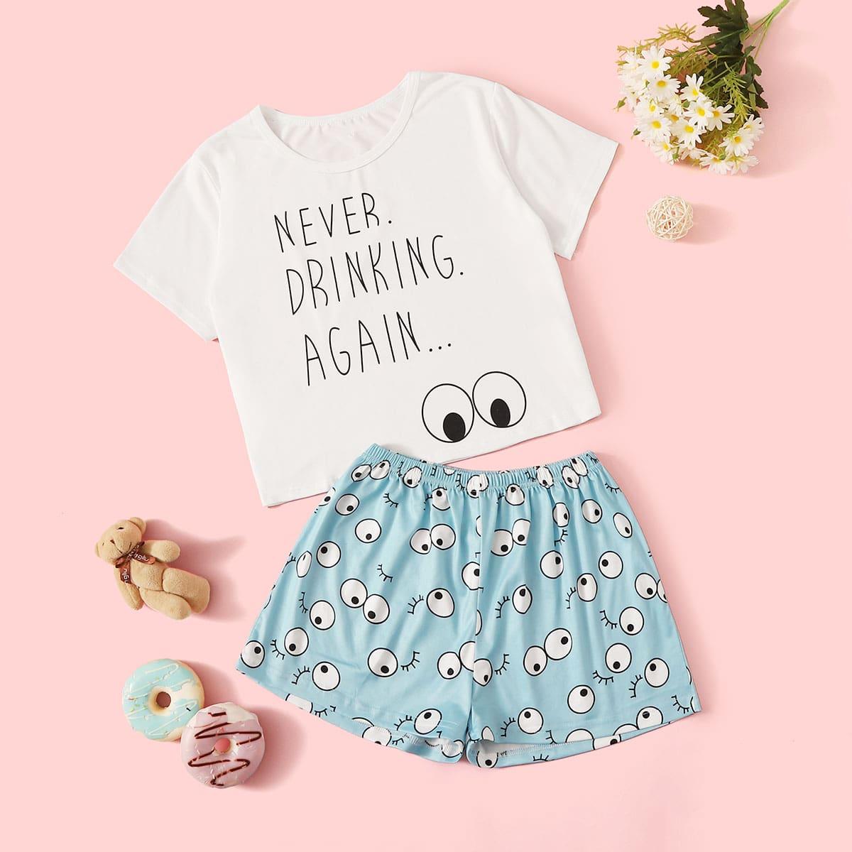 Пижама с текстовым принтом для девочек от SHEIN