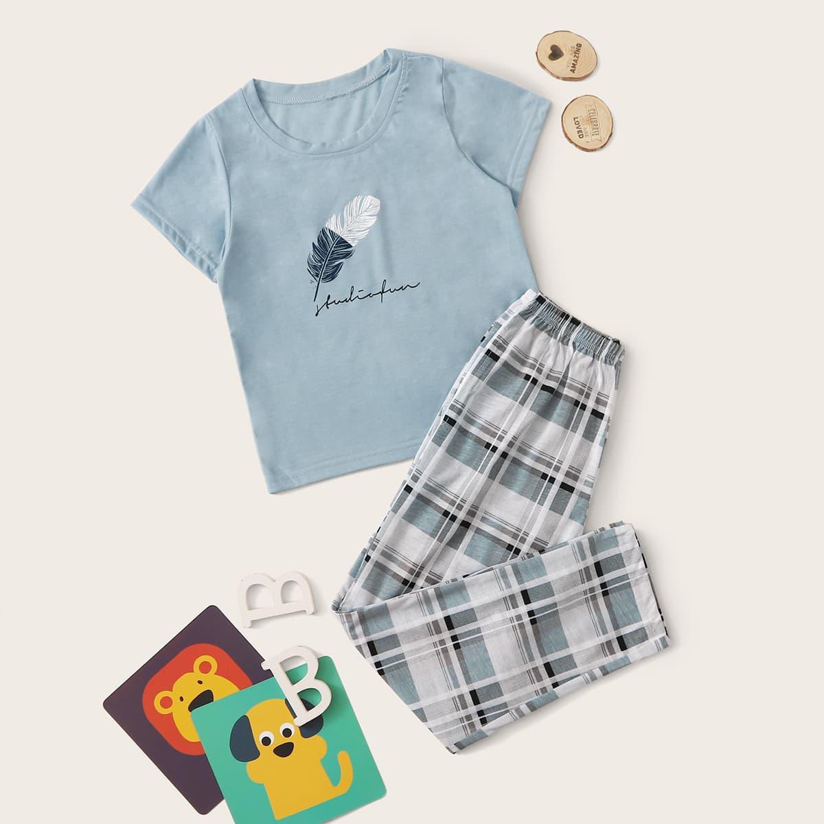 Пижама в клетку с принтом меха для мальчиков от SHEIN