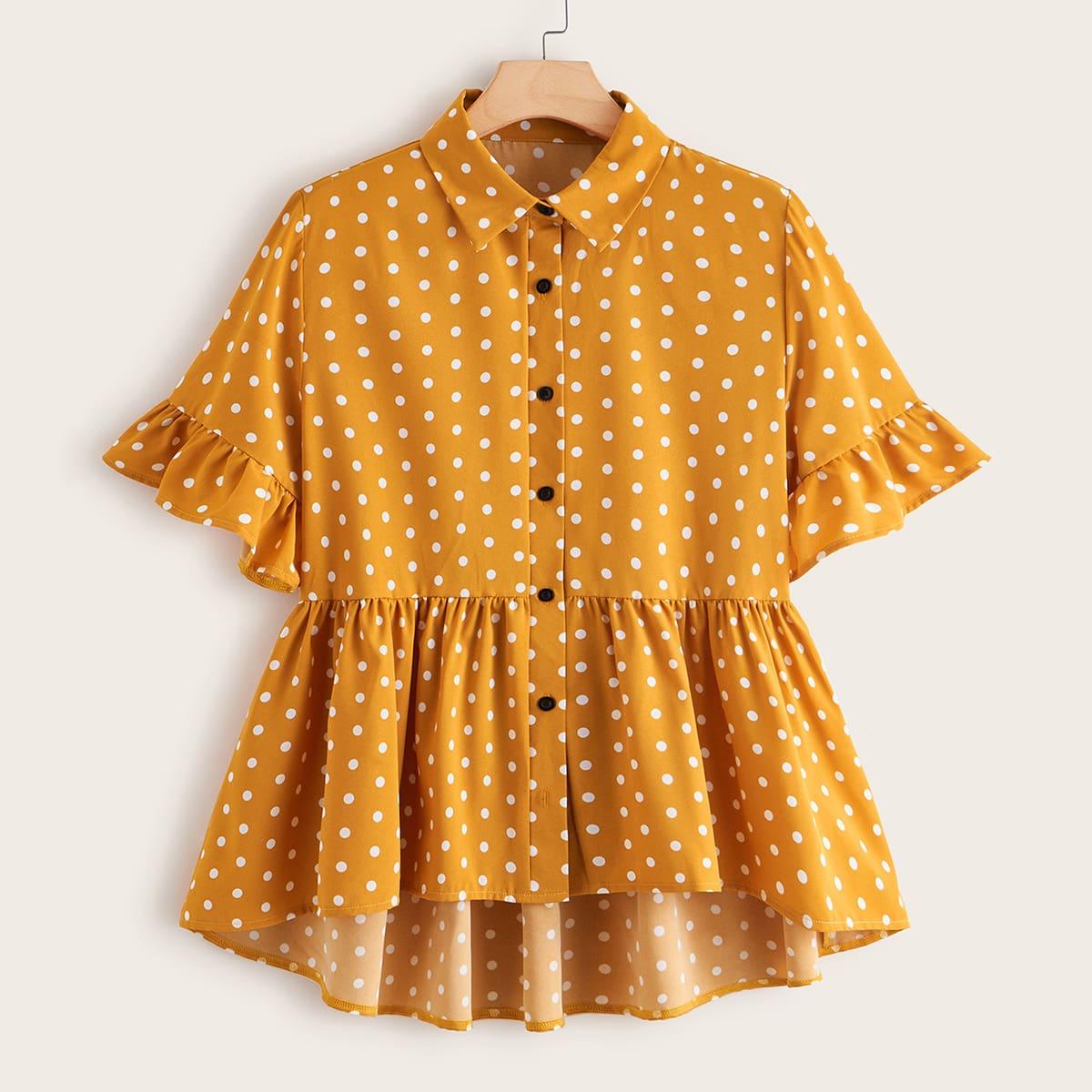 SHEIN / Gelb  Knöpfen vorn Polka Dots Lässig Blusen Große Größen