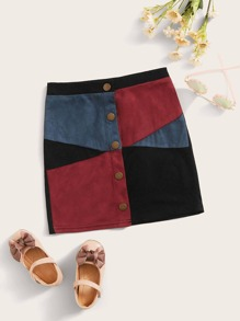 Button | Suede | Front | Skirt | Girl