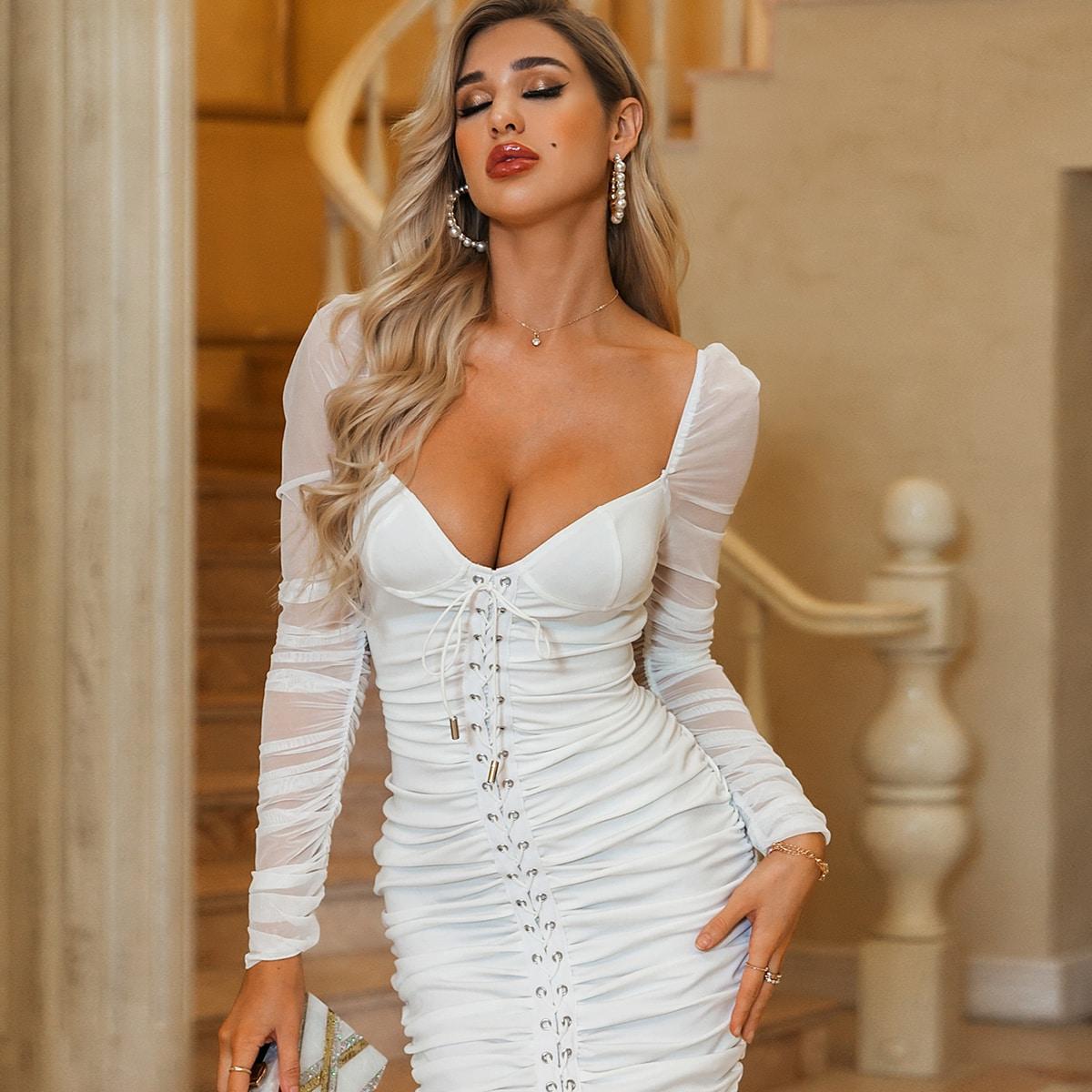 Glamaker облегающее платье на шнурках с глубоким вырезом фото