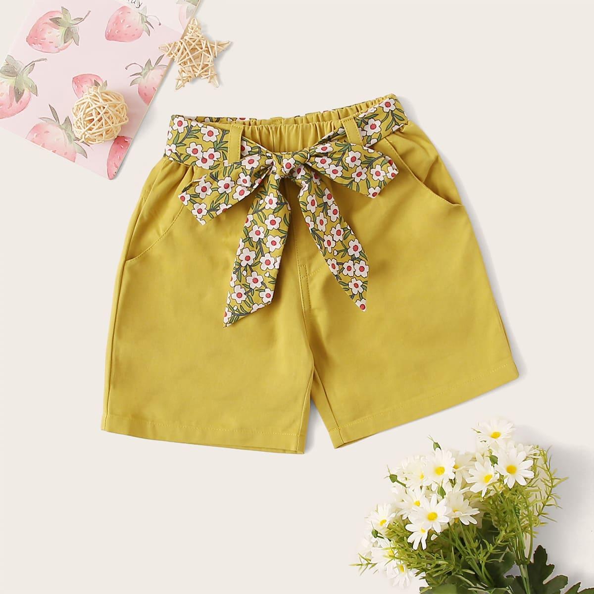 Прямые шорты с поясом для девочек от SHEIN