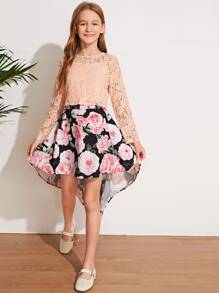 Camisole | Floral | Skirt | Girl | Lace | Top | Set