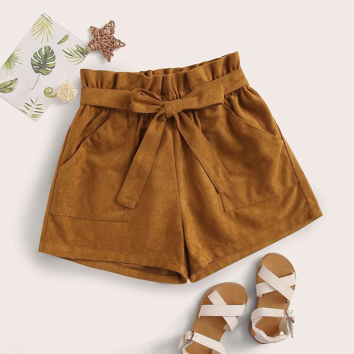 Замшевые шорты с присборенной талией для девочек от SHEIN
