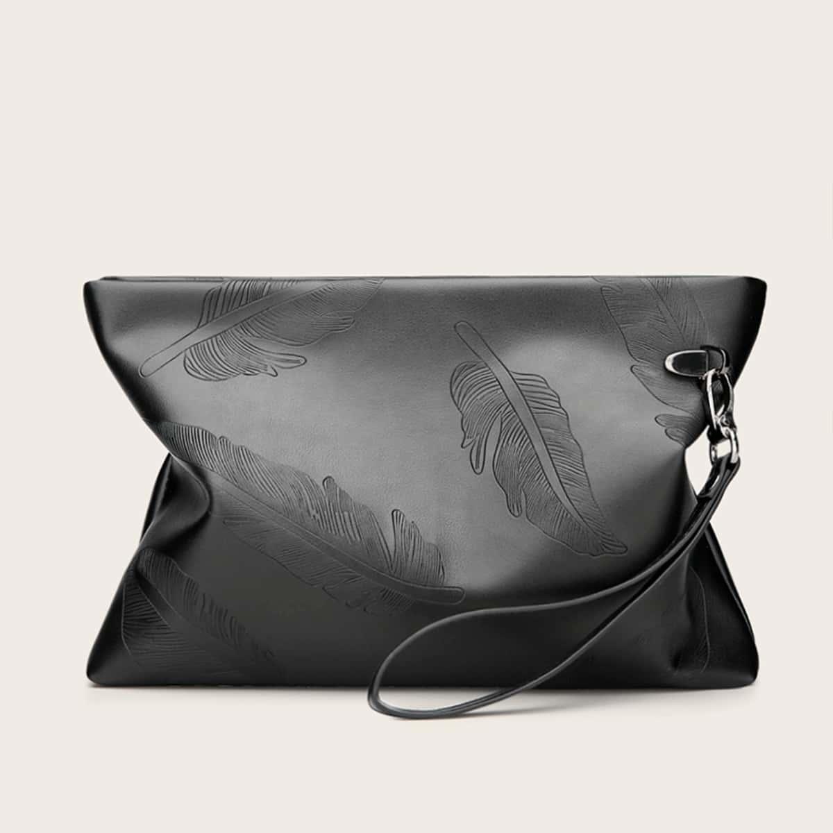 Мужская сумка-клатч с узором листа от SHEIN