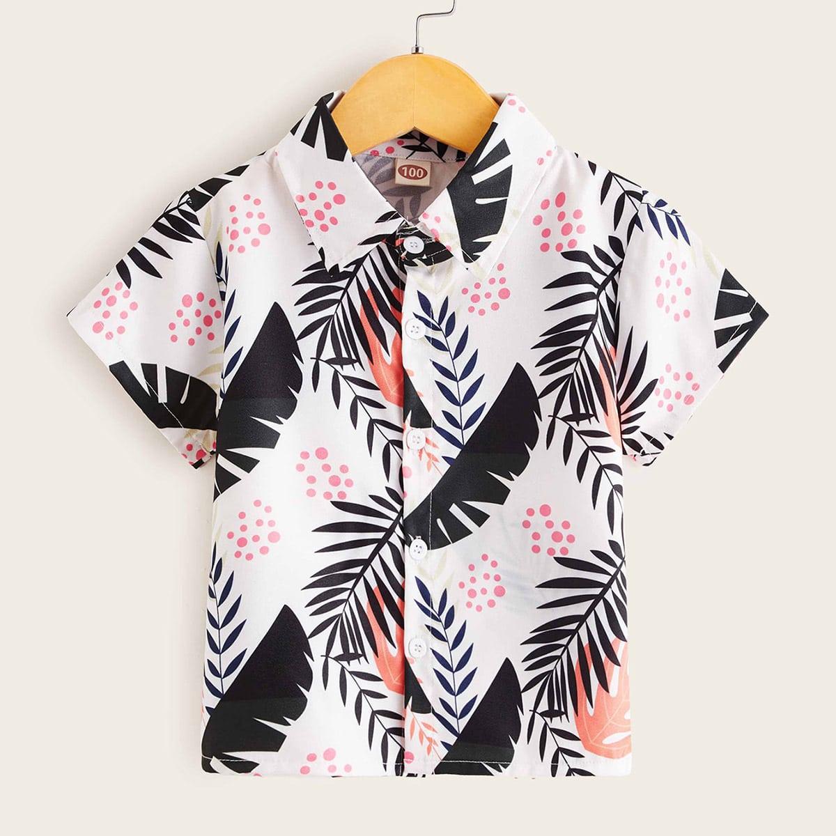 Рубашка с пуговицами и принтом растений дл мальчиков от SHEIN