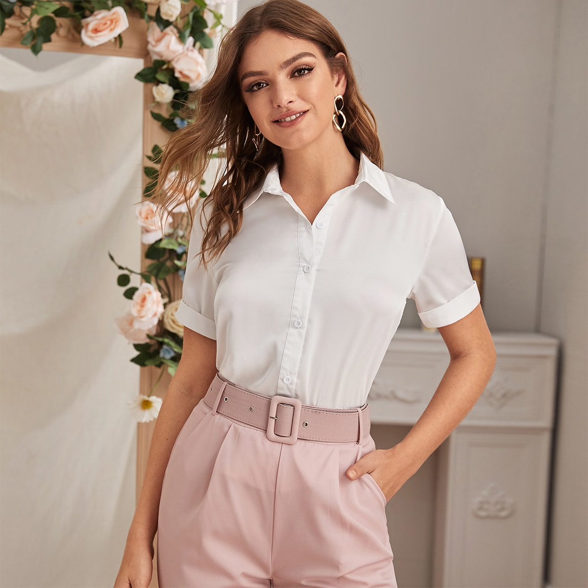 SHEIN / Solid Button Up Satin Blouse