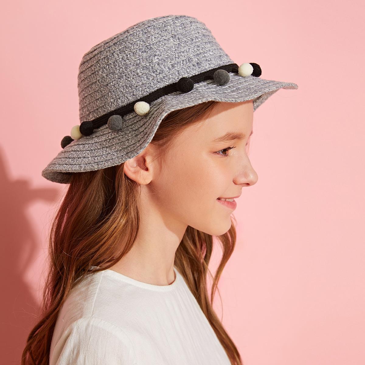Peuter meisjes Pom Pom Decor Floppy Hat