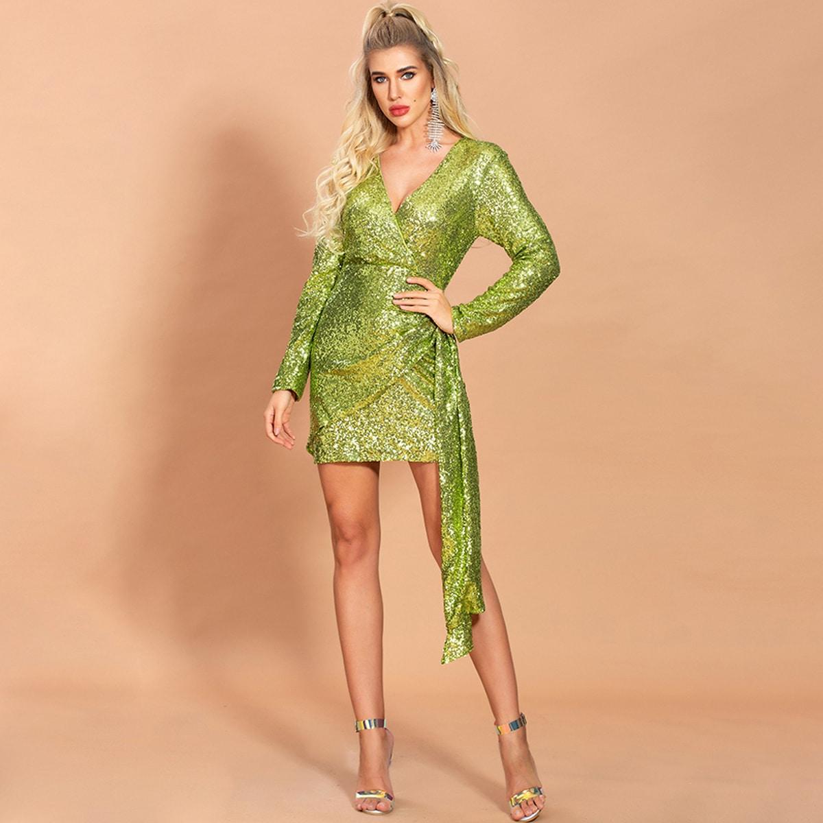 SHEIN / Missord vestido ajustado con lentejuelas con diseño fruncido