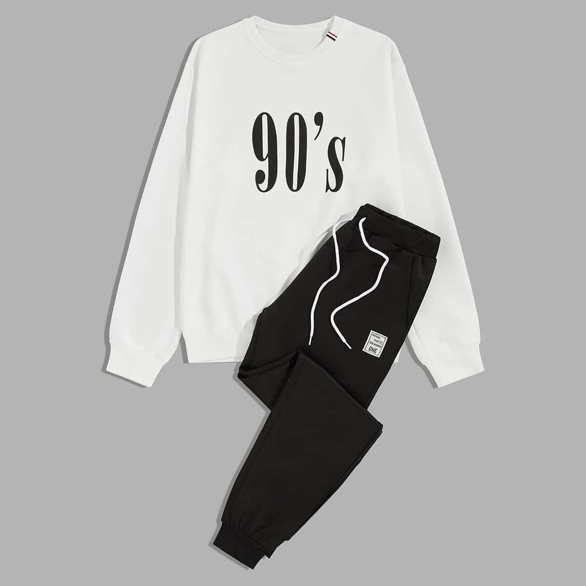 Мужские шорты на кулиске и свитшот с текстовым принтом от SHEIN