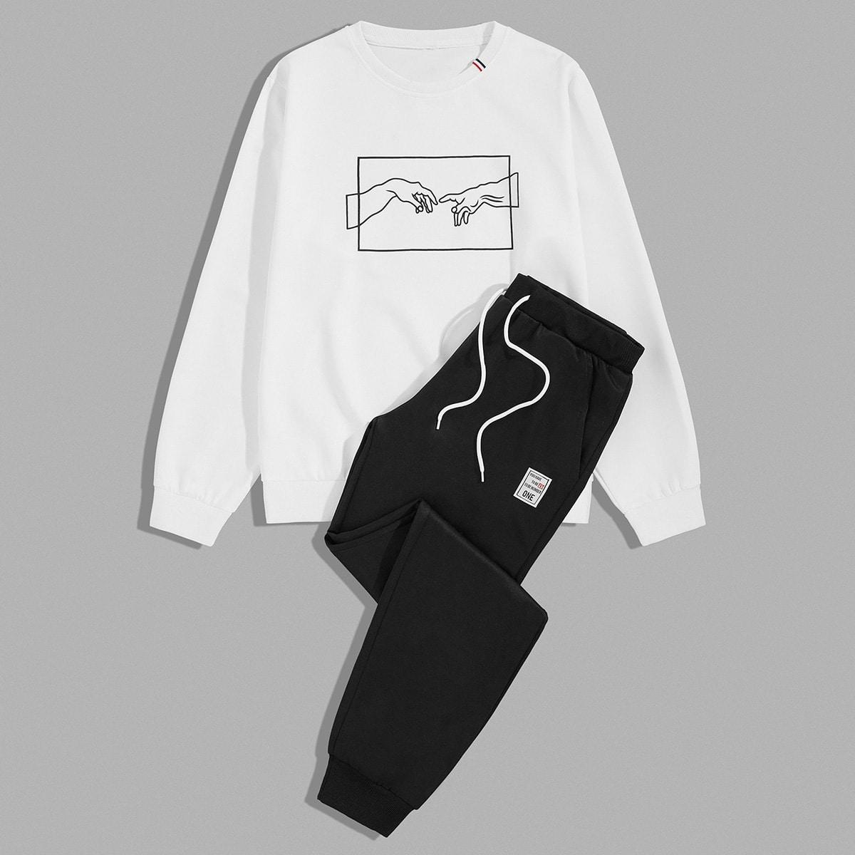 Мужской свитшот с принтом руки и спортивные брюки на кулиске от SHEIN