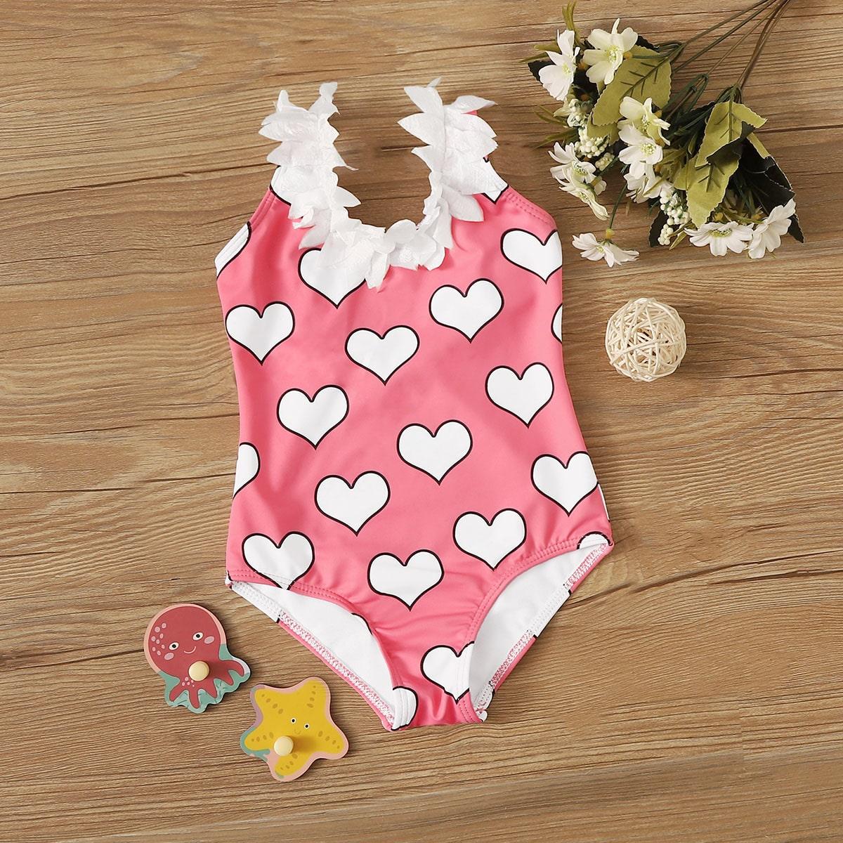 Badpak met hartjesprint voor babymeisjes