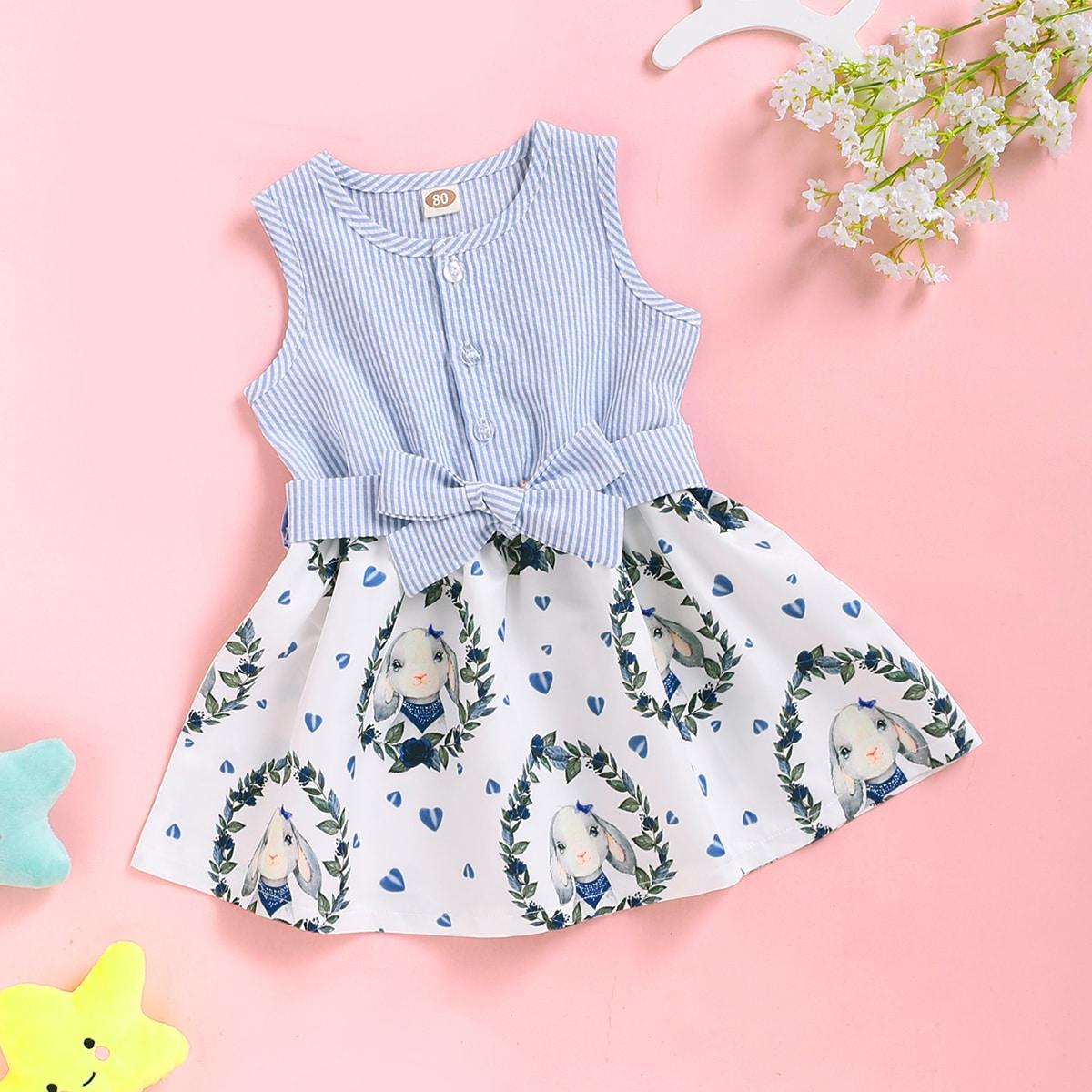 Полосатое платье с поясом и принтом кролика для девочек от SHEIN