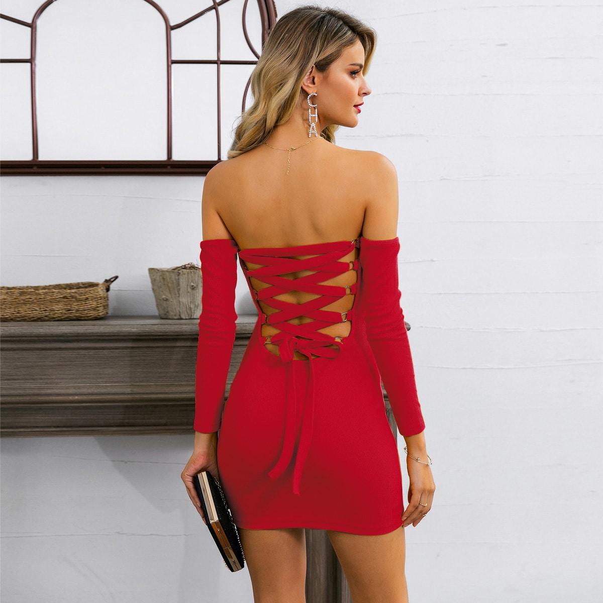 Glamaker облегающее платье с открытыми плечами на шнурках Image