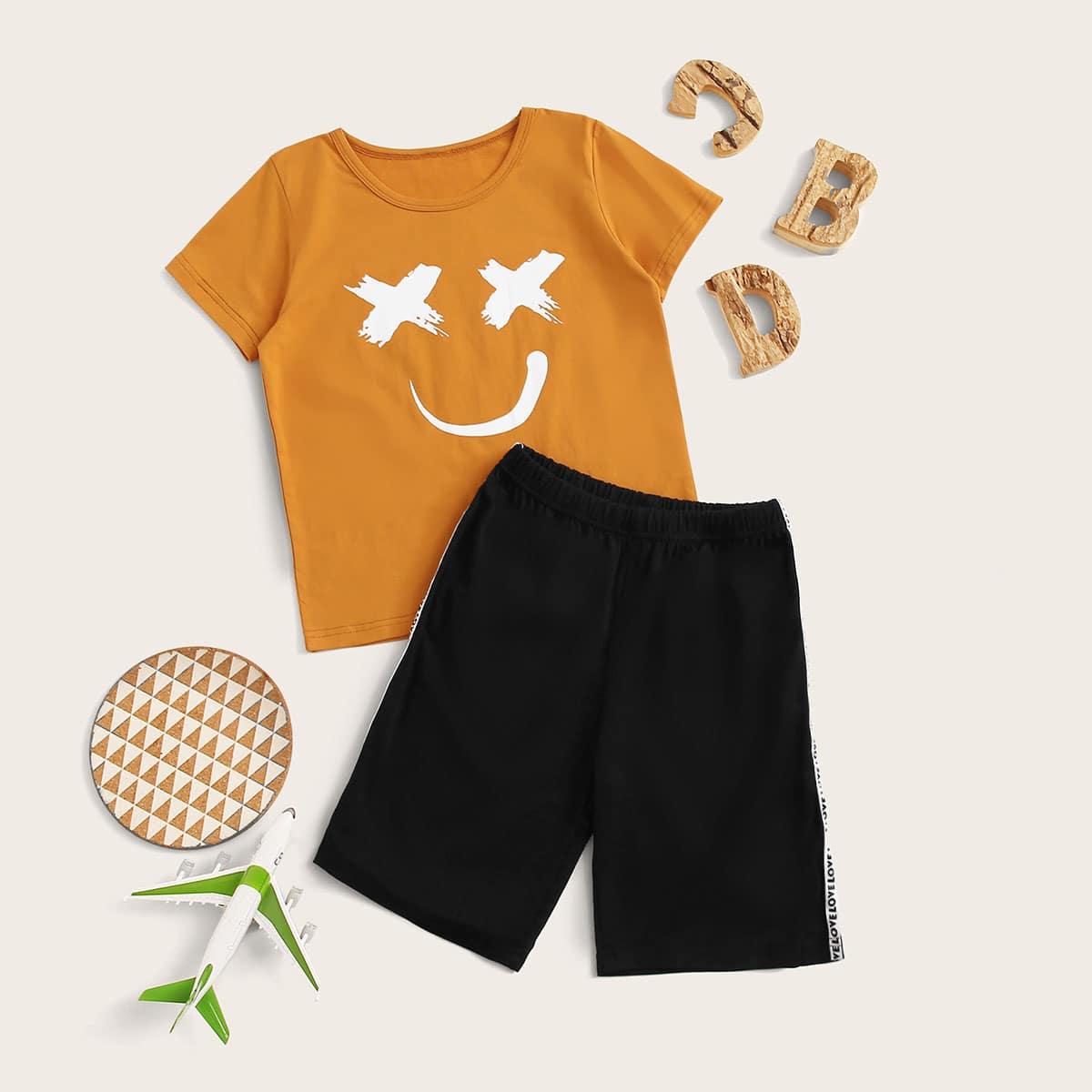 Пижама с принтом лица для мальчиков от SHEIN