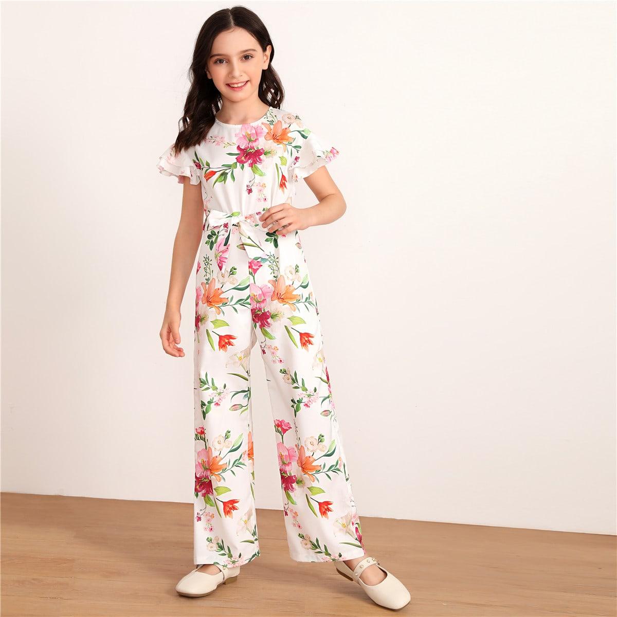 Комбинезон с поясом, цветочным принтом и оригинальным рукавом для девочек от SHEIN