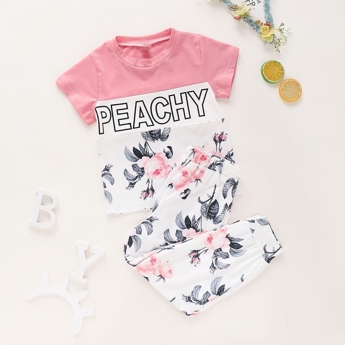 Футболка с текстовым принтом и брюки с цветочным принтом для девочек от SHEIN