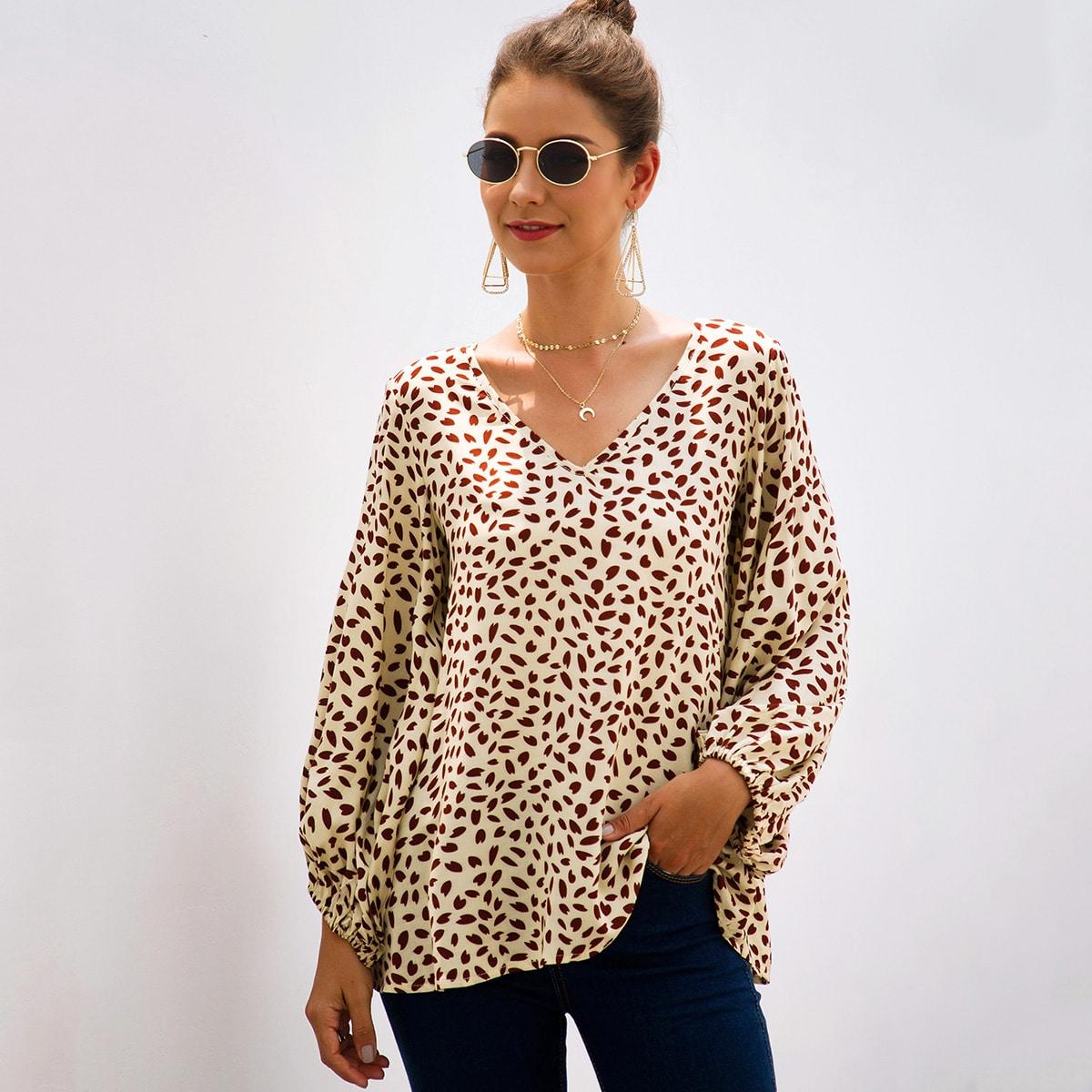 SHEIN / Vielfarbig Überalles Muster Lässig Blusen