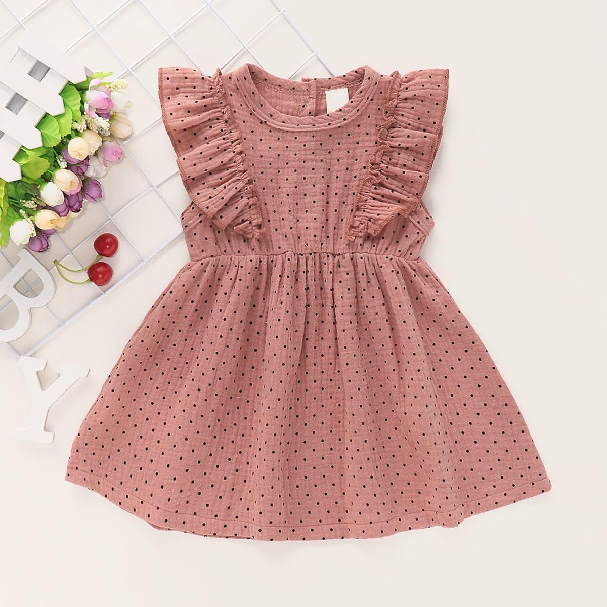 Платье в горошек с оборками для девочек от SHEIN
