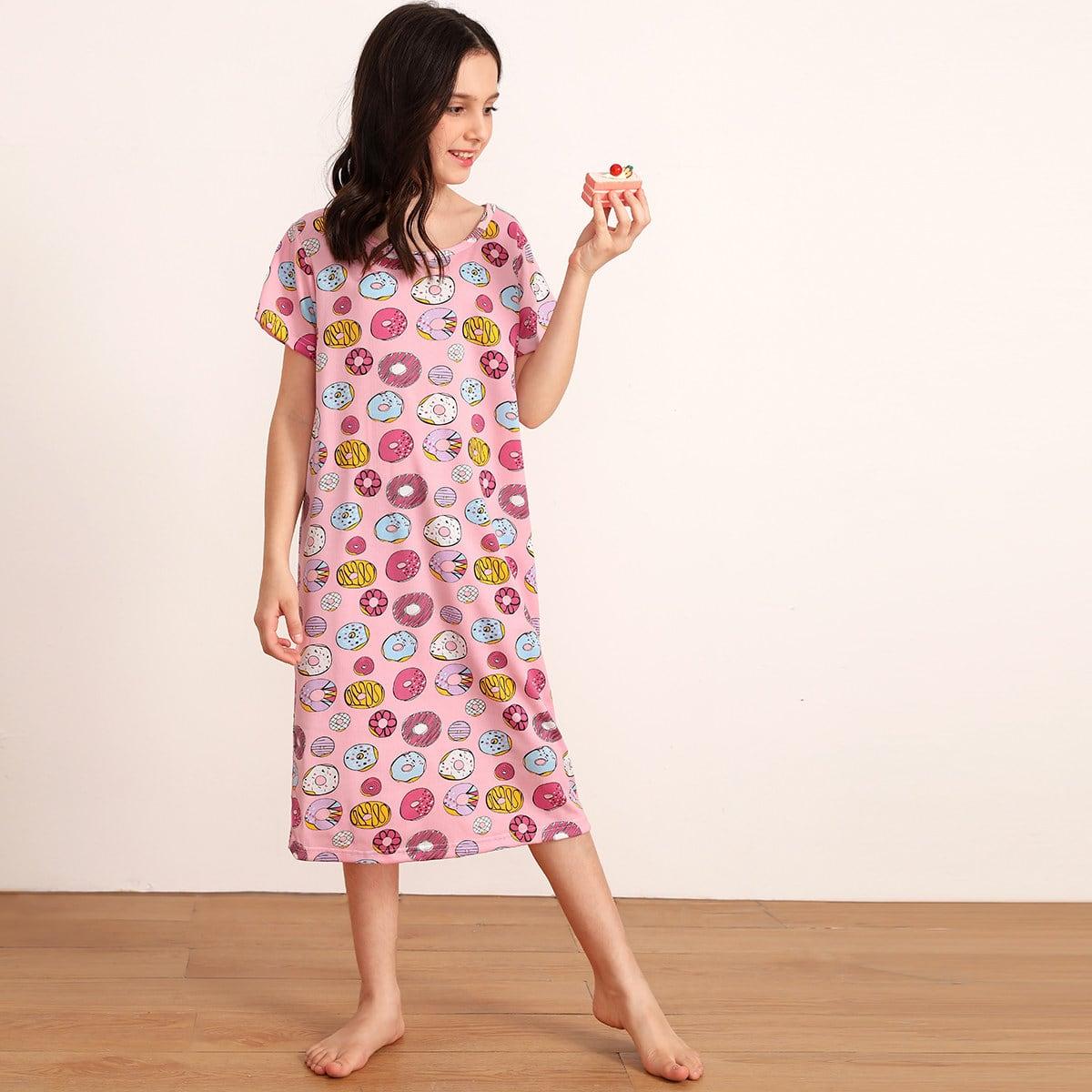 Ночная рубашка с мультяшным принтом для девочек от SHEIN