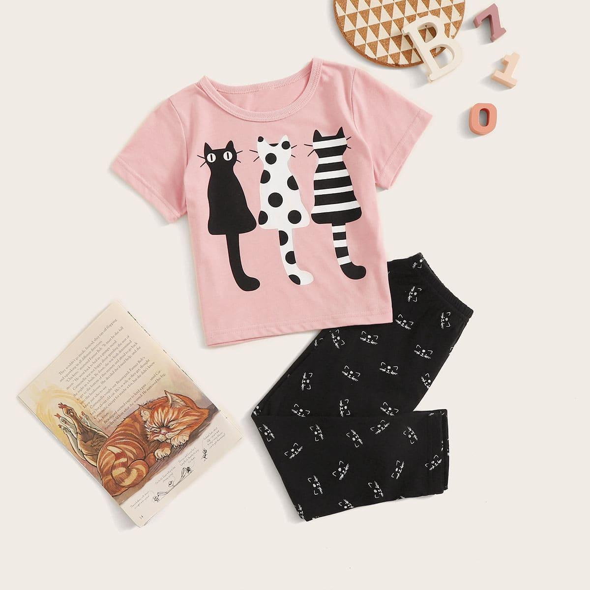Пижама с принтом кота для девочек от SHEIN