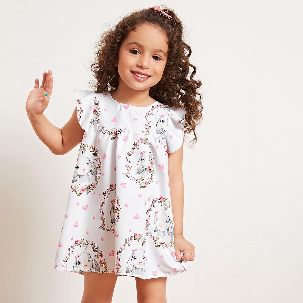 SHEIN / Toddler Girls Rabbit & Floral Print Smock Dress