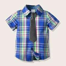 Chemise en tartan avec cravate