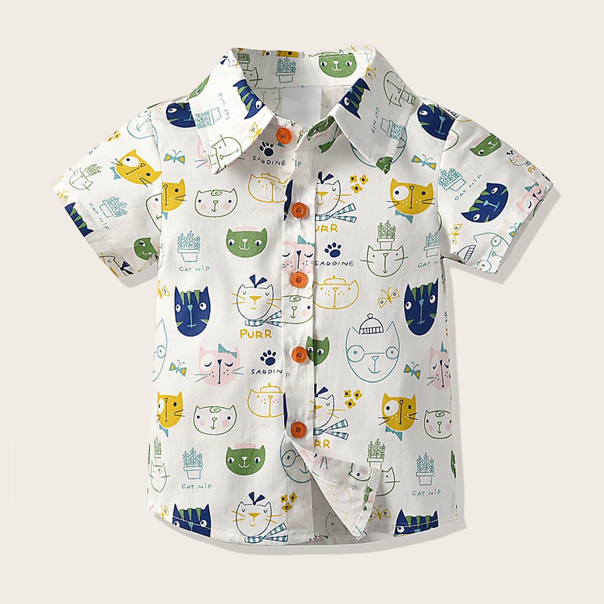 Рубашка с мультяшным принтом для мальчиков от SHEIN