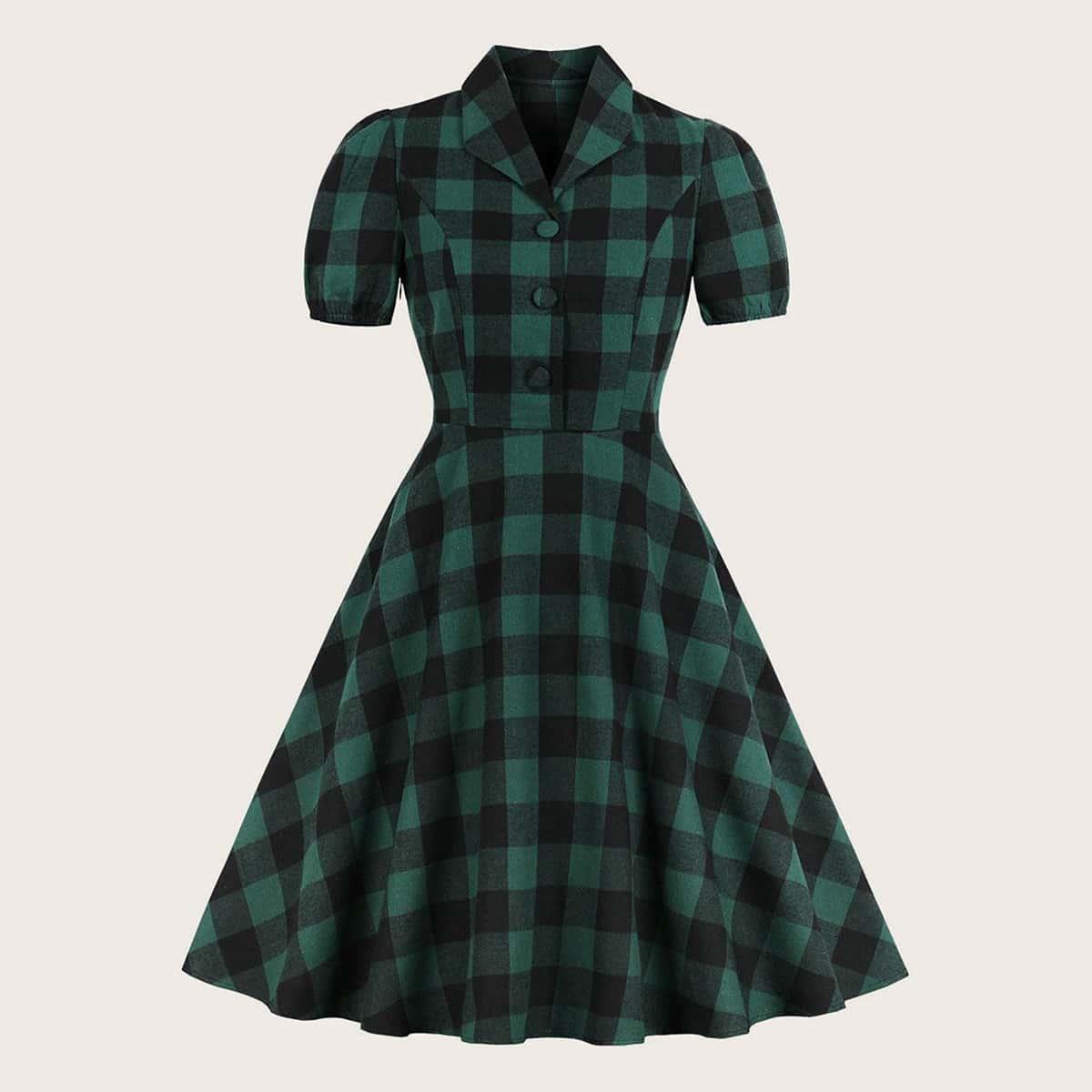 SHEIN / Große Größen - Kleid mit Karo Muster