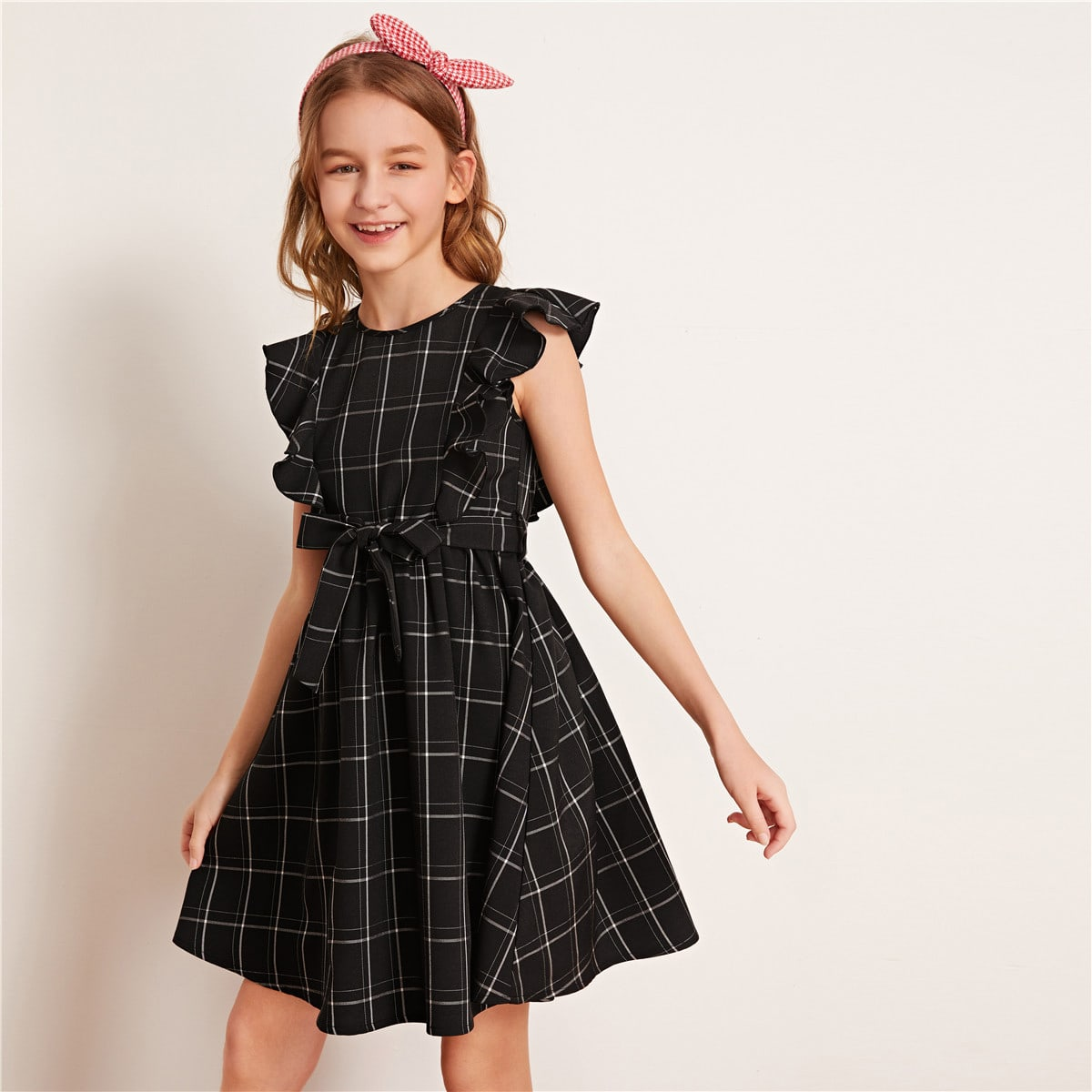 SHEIN / Girls Ruffle Armhole Belted Plaid Dress