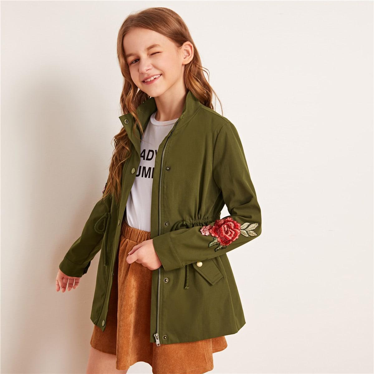 Цветочное пальто на кулиске для девочек от SHEIN