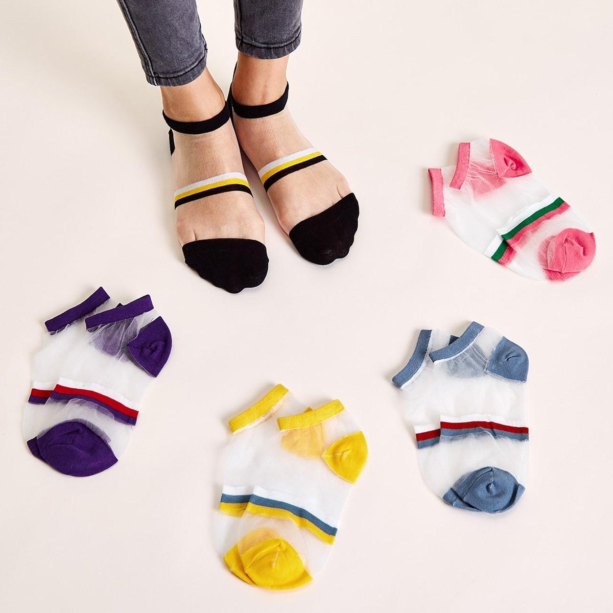 SHEIN / 5 Paar Color Block Mesh Socken